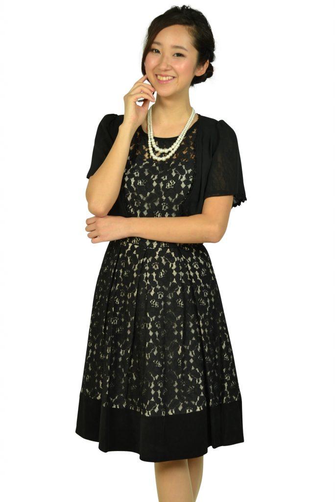 カルバンクライン (Calvin Klein) ブラックフラワーレースドレスセット