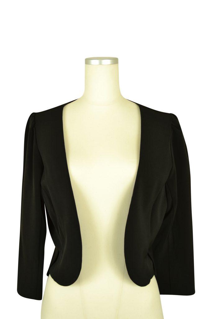 パルムドール (PALME D'OR) シンプル7分袖ブラックジャケット