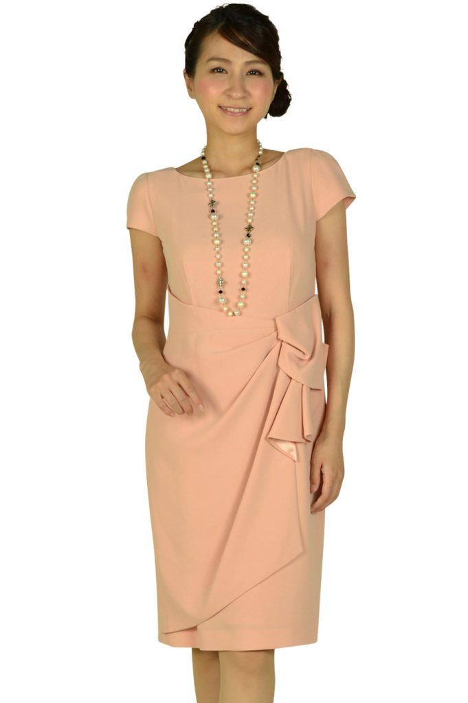 ジャスグリッティー(JUSGLITTY) タック付シンプルピンクドレス