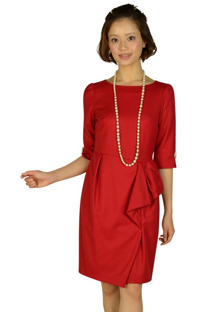 ジャスグリッティー(JUSGLITTY) 7分袖ビジュレッドドレス