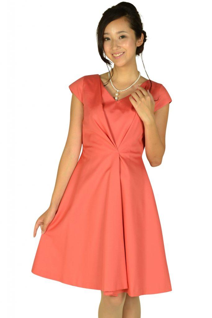ラ トータリテ(La TOTALITE) エレガントタックオレンジピンクドレス