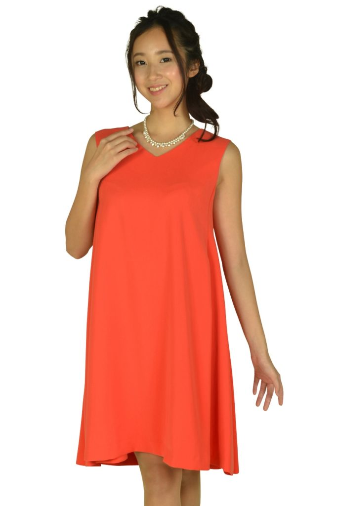 ストロベリーフィールズ(STRAWBERRY-FIELDS) VネックAラインオレンジドレス