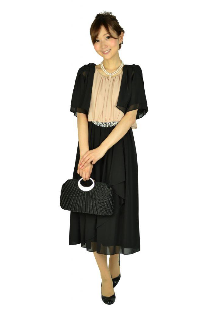 ミベル ミューズ (mebelle muse) ウェストパールバイカラードレス