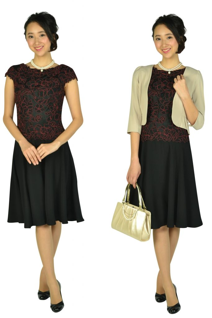 タダシ・ショージ(Tadashi Shoji) ボルドー刺繍ブラックドレス