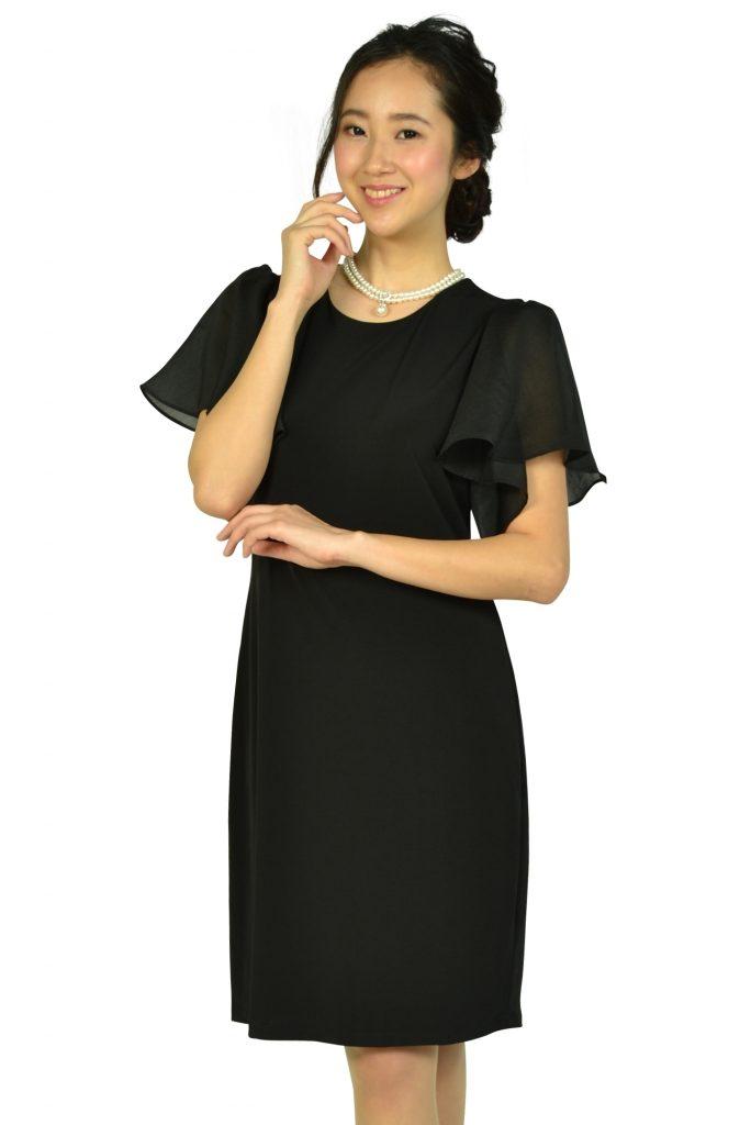 カルバンクライン(Calvin Klein) シースルーフレア袖ブラックドレス
