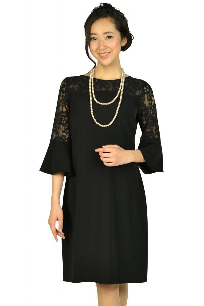 エルモソ リュクス(Hermoso luxe) 異素材ベル袖ブラックドレス