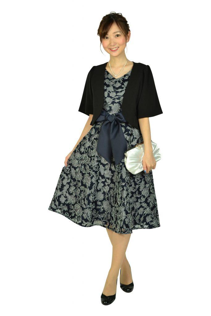 ドーリードール(Dorry Doll) チュール刺繍レースネイビードレス