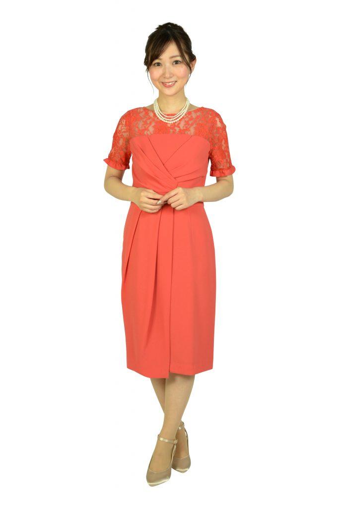 グレースコンチネンタル(GRACE CONTINENTAL) レースカシュクールコーラルオレンジドレス