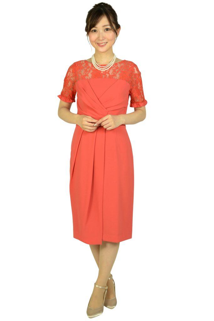 グレースコンチネンタル (GRACE CONTINENTAL) レースカシュクールコーラルオレンジドレス