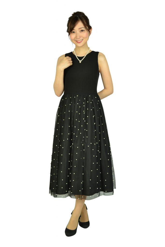 カルバンクライン(Calvin Klein) パールチュールブラックドレス
