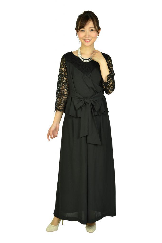 ルチェア(Luceat) 袖レースカシュクールブラックパンツドレス