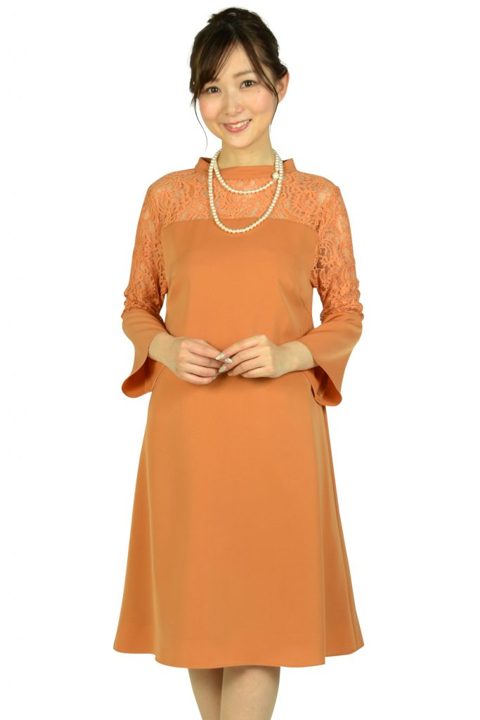 ドーリードール(Dorry Doll) ベル袖テラコッタオレンジドレス