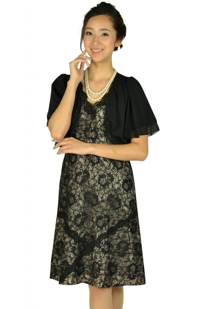 カルバンクライン(Calvin Klein) 総ブラックレース×ベージュドレスセット