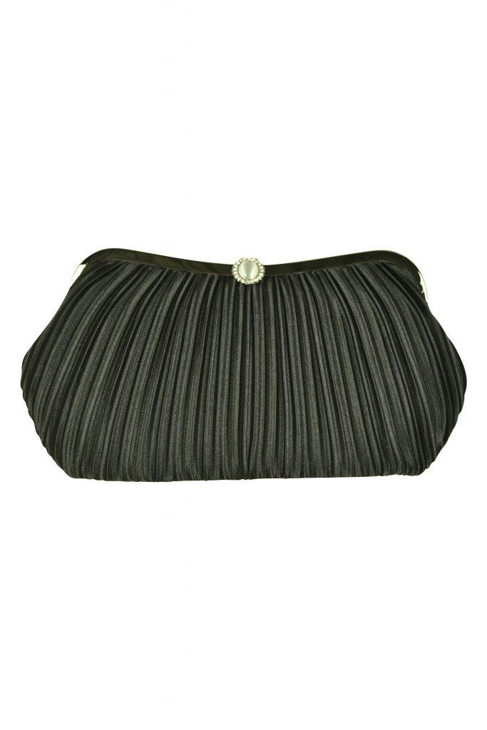 ビヲミナ (VIWOMINA) 上品プリーツブラックバッグ