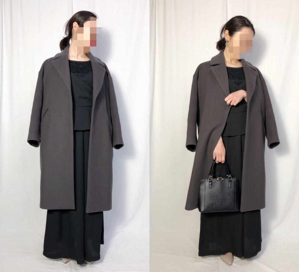 【パターン4】ブラックパンツドレス+ダークブラウンコート