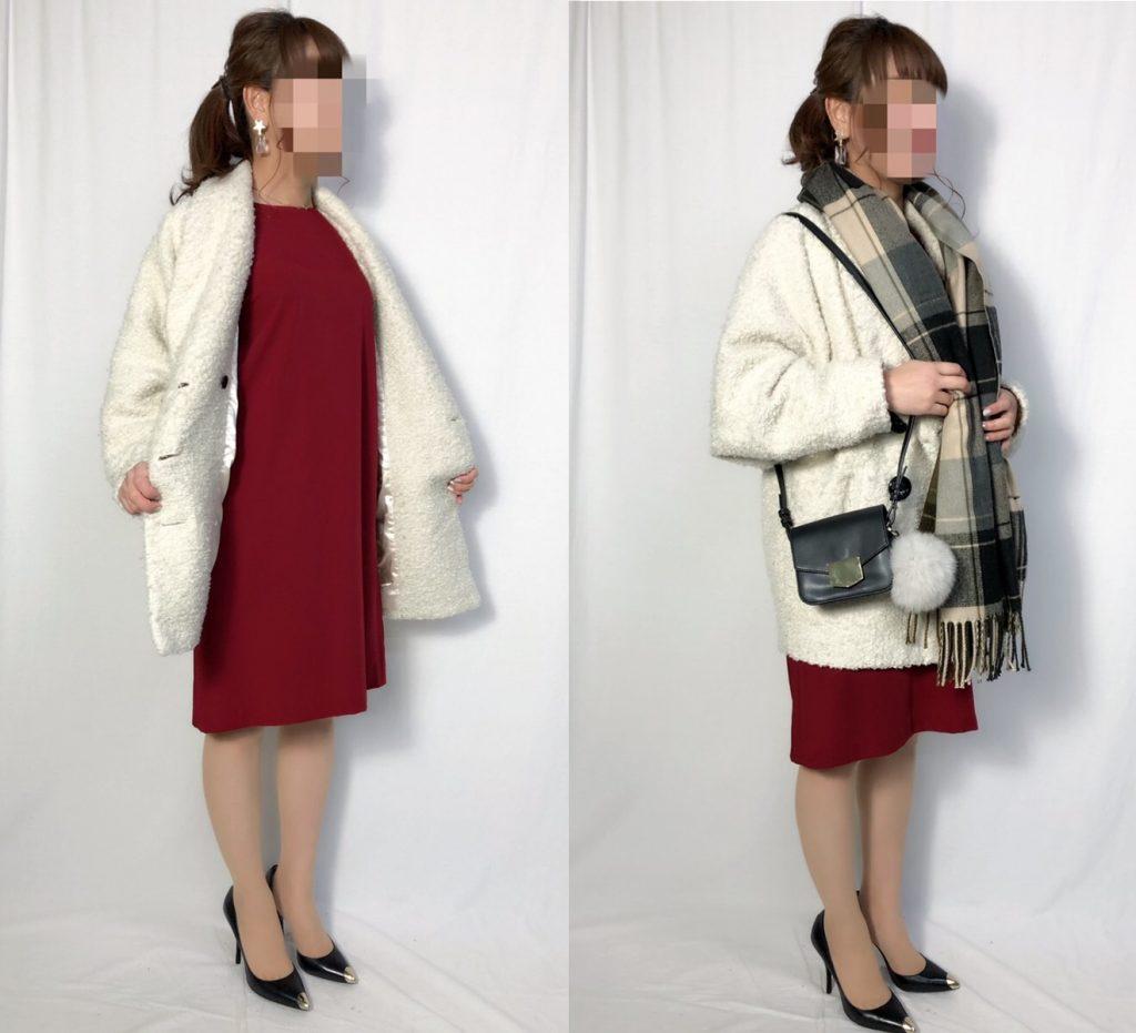 【パターン5】ボルドードレス+ホワイトボアジャケット