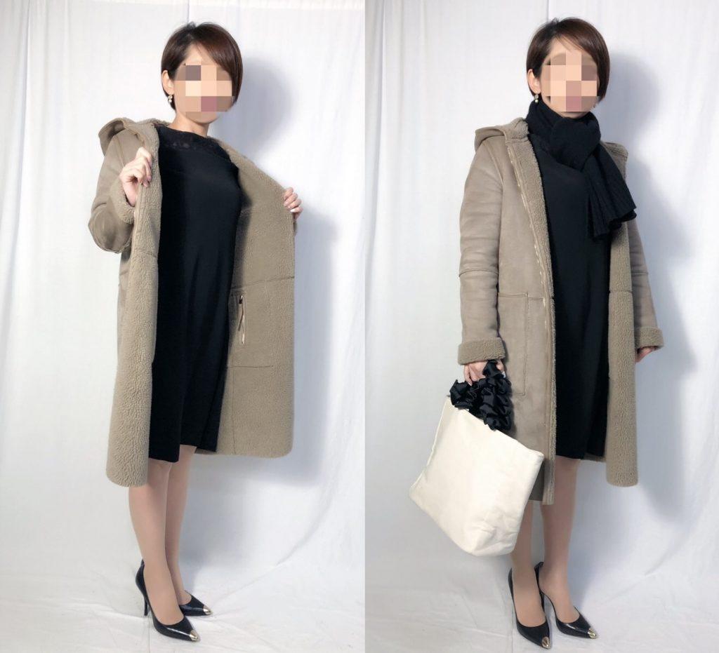 【パターン3】ブラックドレス+モカベージュコート