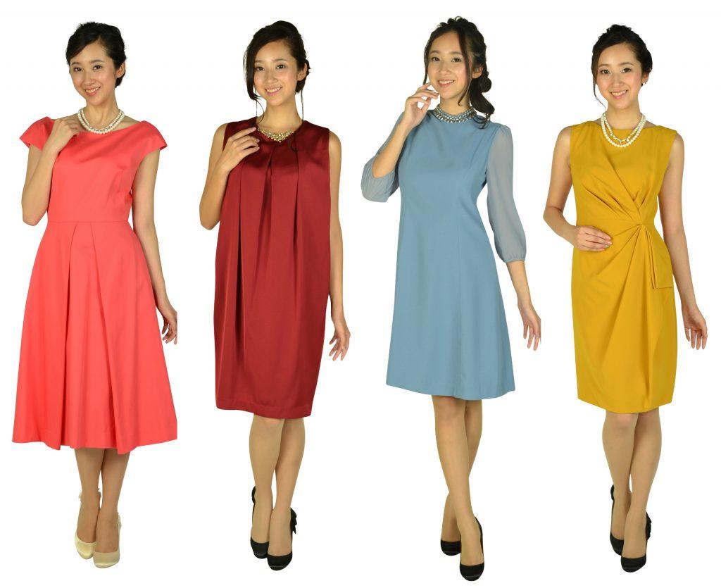 このようなカラードレスが人気!!↓