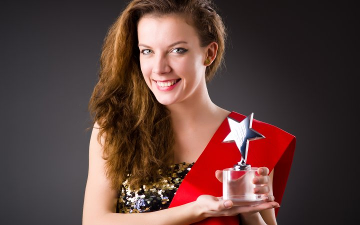Woman winning the beauty contest