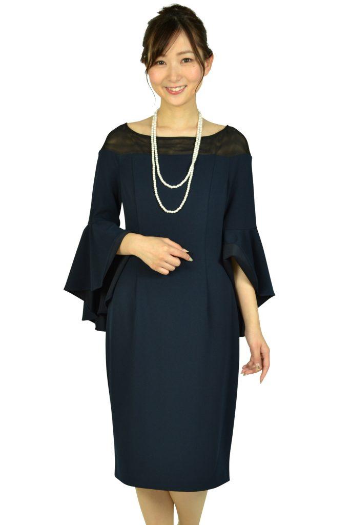 カルバンクライン (Calvin Klein) 袖コンシャスネイビードレス