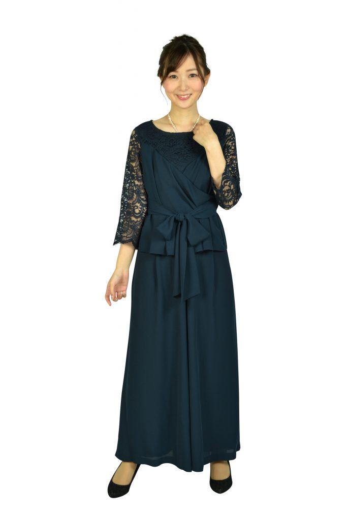 ルチェア (Luceat) 袖レースカシュクールネイビーパンツドレス