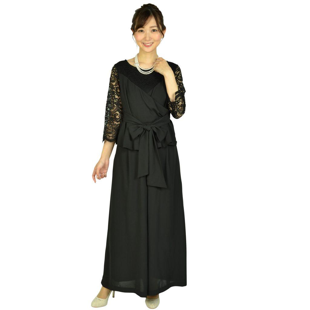 ルチェア 袖レースカシュクールブラックパンツドレス
