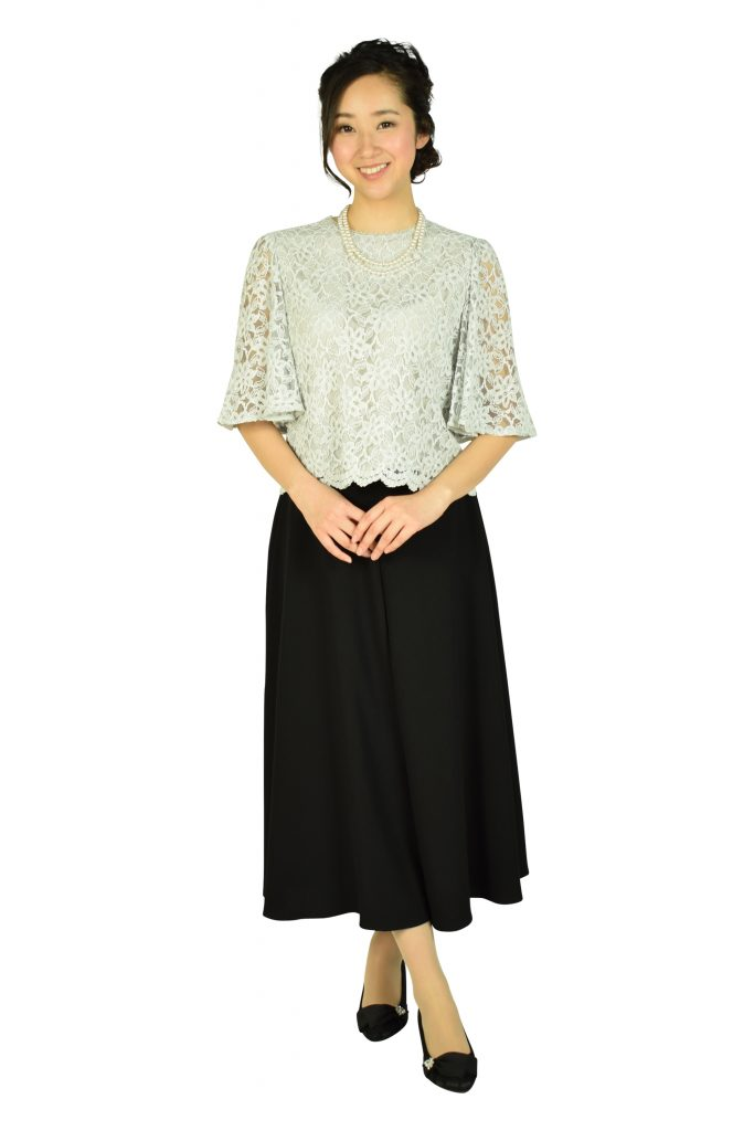 クミキョク (組曲) ライトグレーレース×ブラックワイドパンツドレス