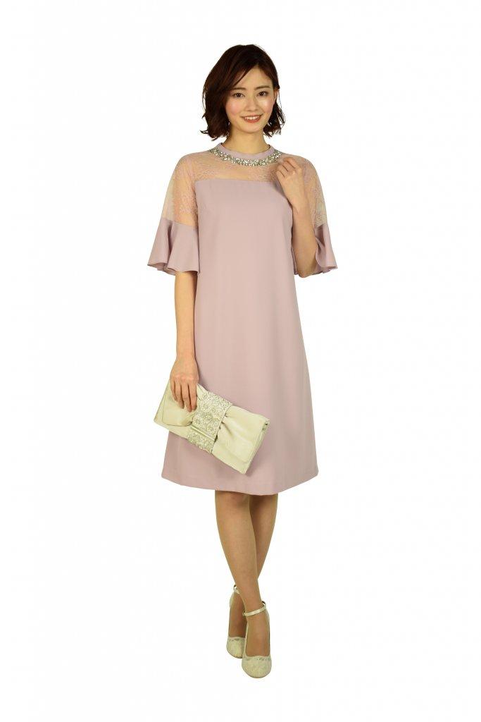 GRACE CONTINENTAL ビジュAラインピンクドレス