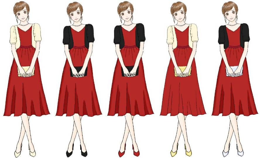 レッド系ドレスのコーディネート
