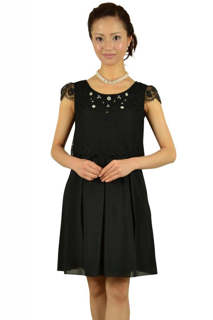 フェルゥ (Feroux) ビジュ付きオーバートップスブラックドレス