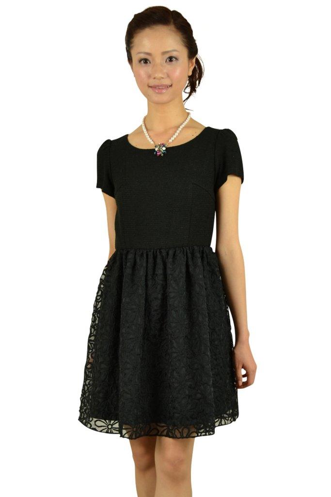 ペイトンプレイス (PEYTON PLACE) 切り替えミニ袖ブラックドレス
