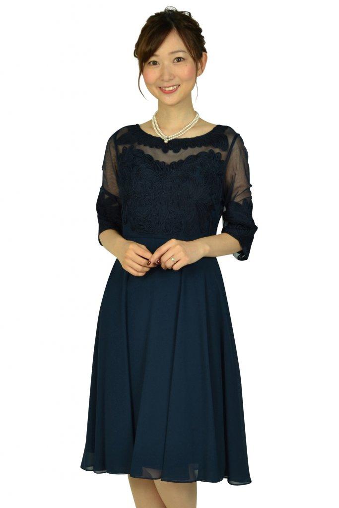 アナトリエ (anatelier) フラワーテープレースネイビードレス