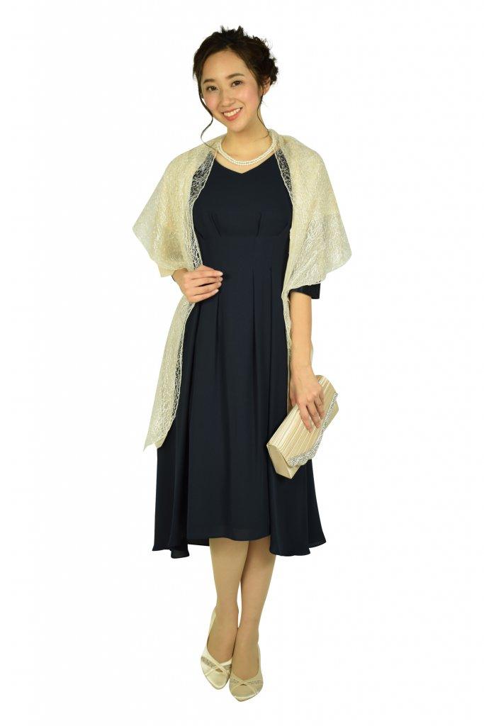 ドレス デコ (DRESS DECO) Vネック袖レースネイビードレス