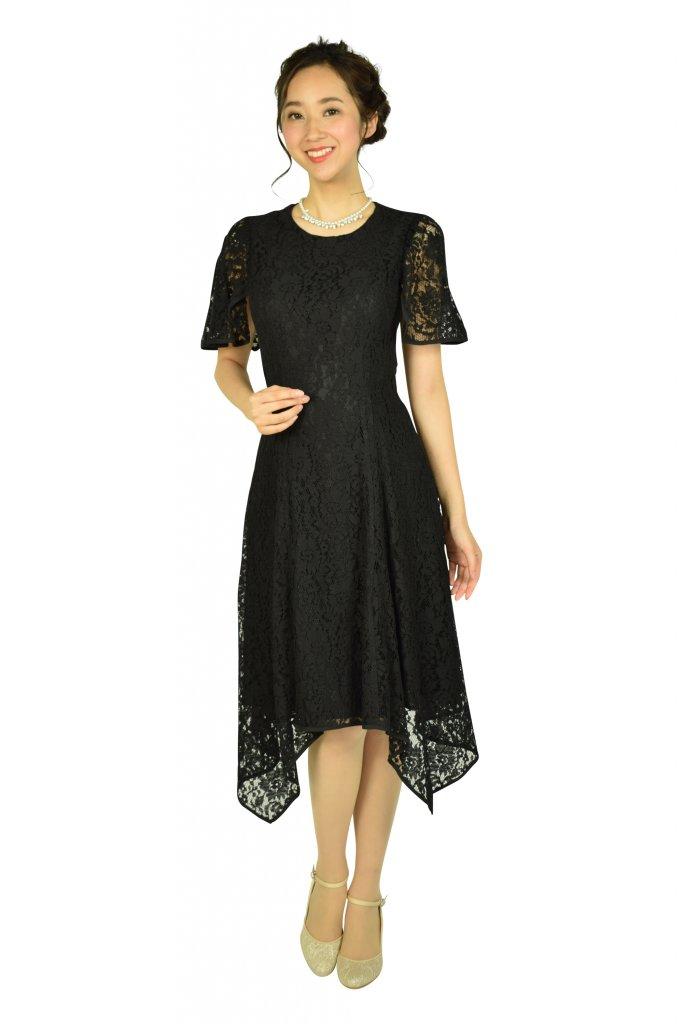 ダナ・キャラン (Donna Karan) イレギュラーヘムレースブラックドレス