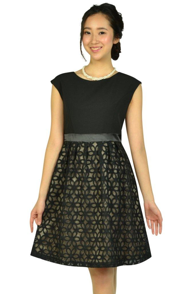 エニィスィス (anySiS) オーガンジーフラワーブラックドレス