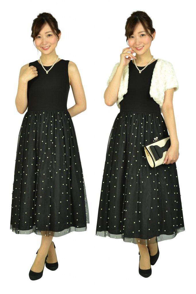 Calvin Klein パールチュールブラックドレス
