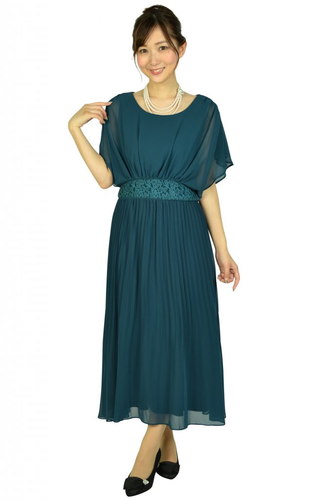 ルチェア(Luceat) プリーツミディグリーンドレス