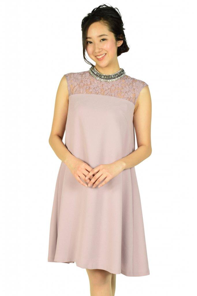 GRACE CONTINENTAL ネックビジュアッシュピンクドレス