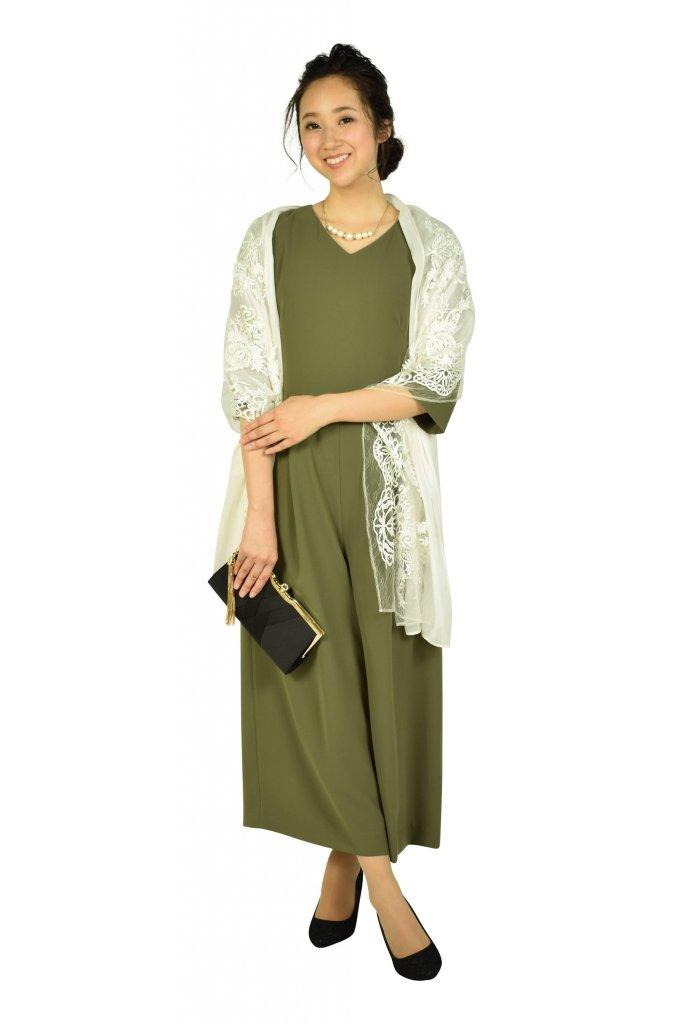 エメ(AIMER) 6分袖カーキワイドパンツドレス