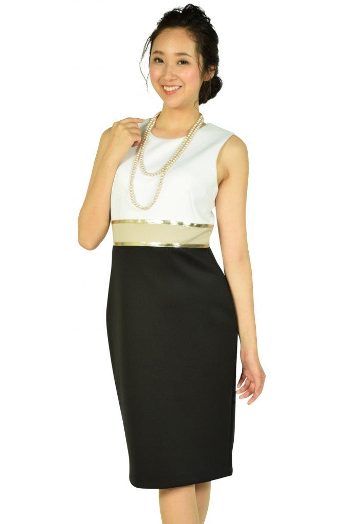 カルバンクライン(Calvin Klein) ゴールドラインホワイト×ブラックドレス