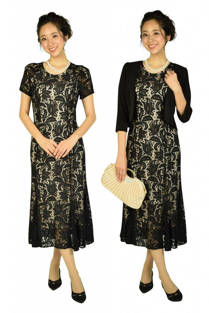 ROMAN フラワーモチーフレースブラックドレス