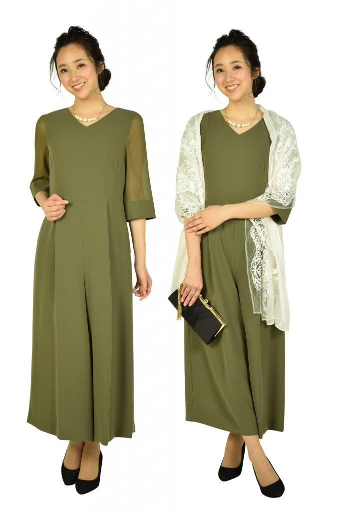 エメ (AIMER) 6分袖カーキワイドパンツドレス