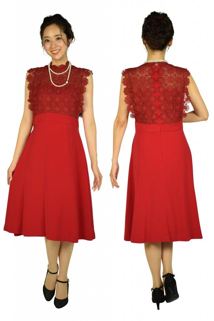 フェテローブ (FeteROBE) フラワーレースレッド系ドレス