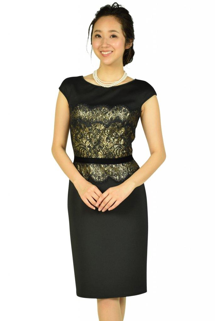 Tadashi Shoji エレガントブラック×ゴールドタイトドレス
