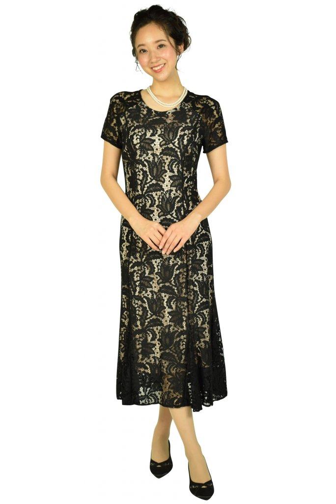 ローマン (ROMAN) フラワーモチーフレースブラックドレス
