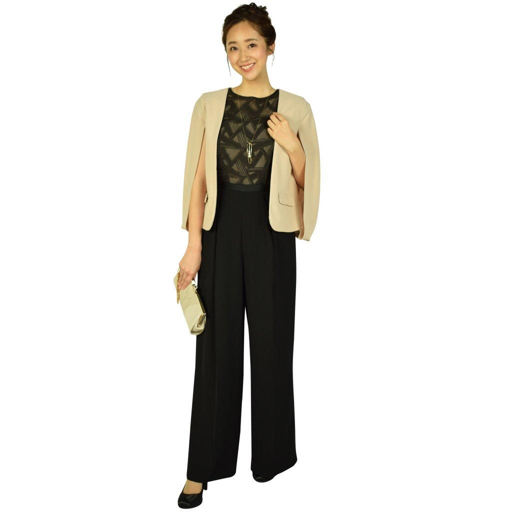LAGUNAMOON トライアングル刺繍ブラックパンツドレス