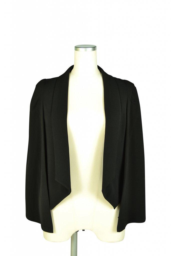 エルモソ リュクス(Hermoso luxe) 襟付きケープ袖ブラックジャケット