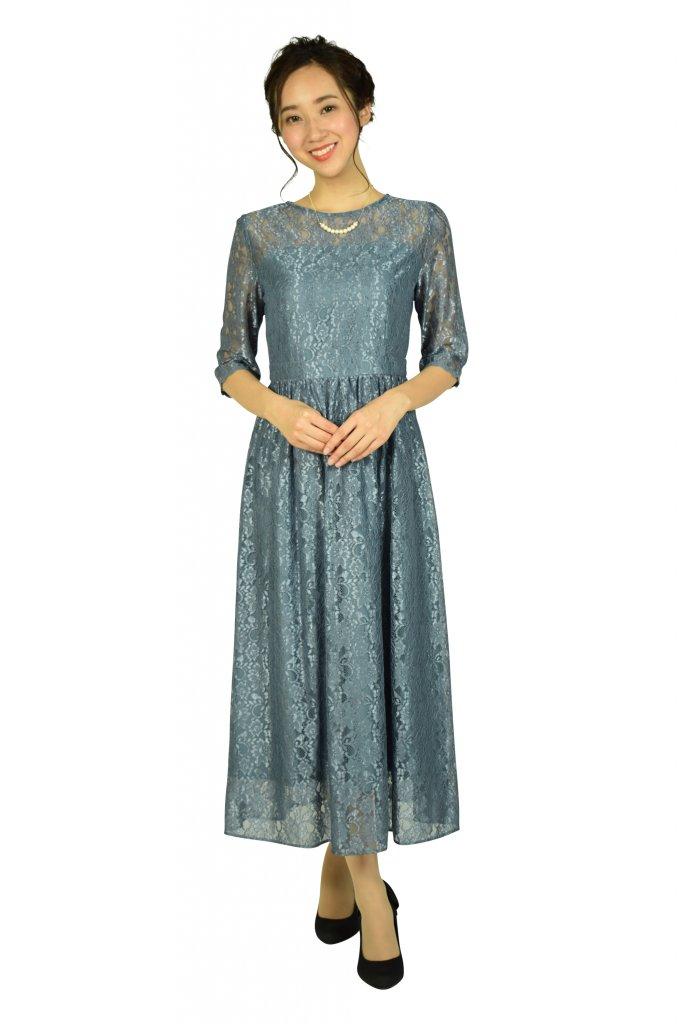 エニィスィス (anySiS) シャイニースモーキーブルーレースドレス