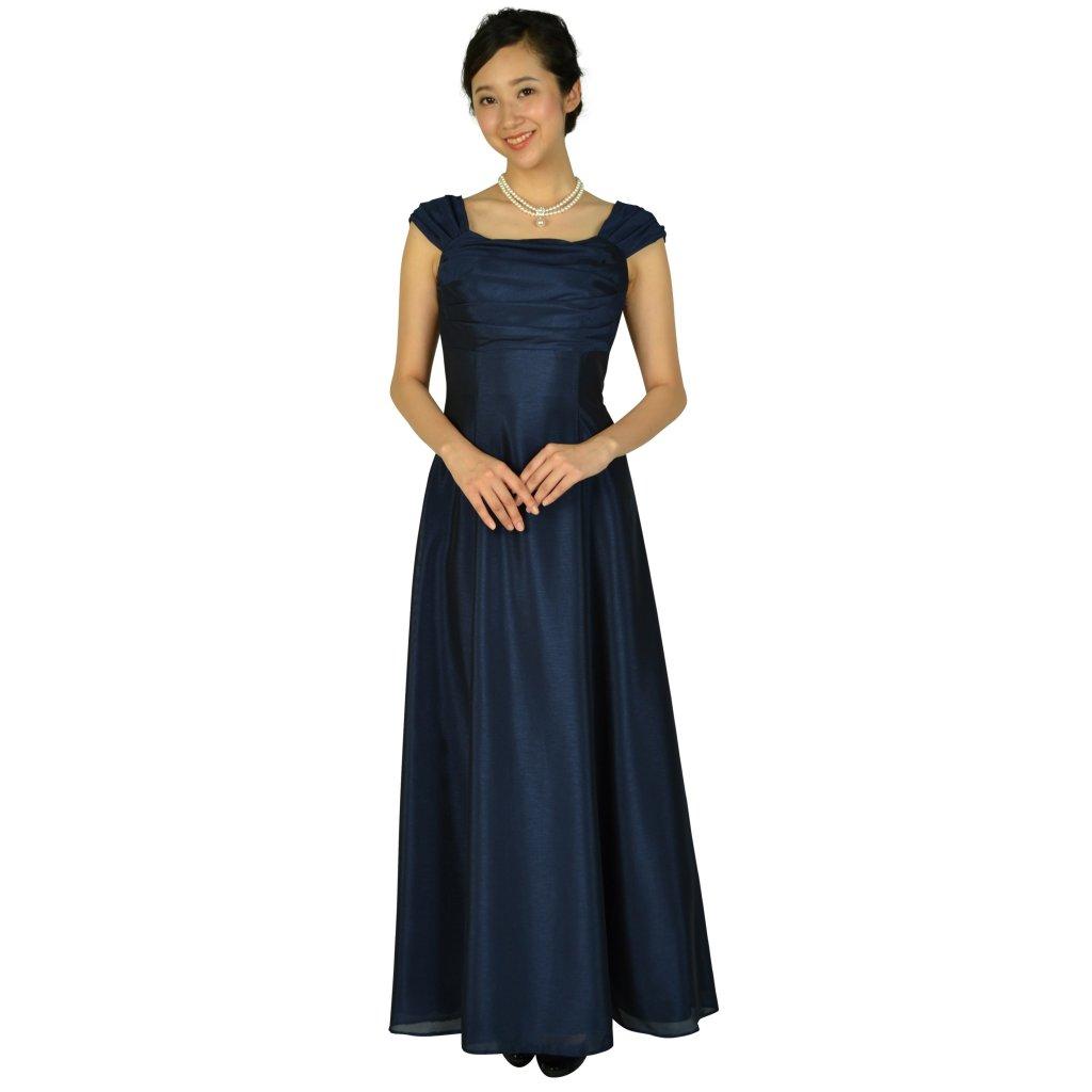 プリフェレンスパーティーズ 上品シャンタン編み上げネイビーロングドレス