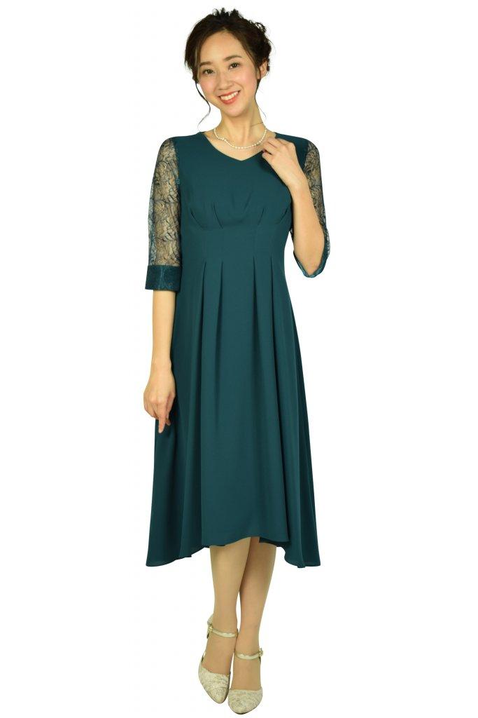 ドレス デコ(DRESS DECO) Vネック袖レースグリーンドレス